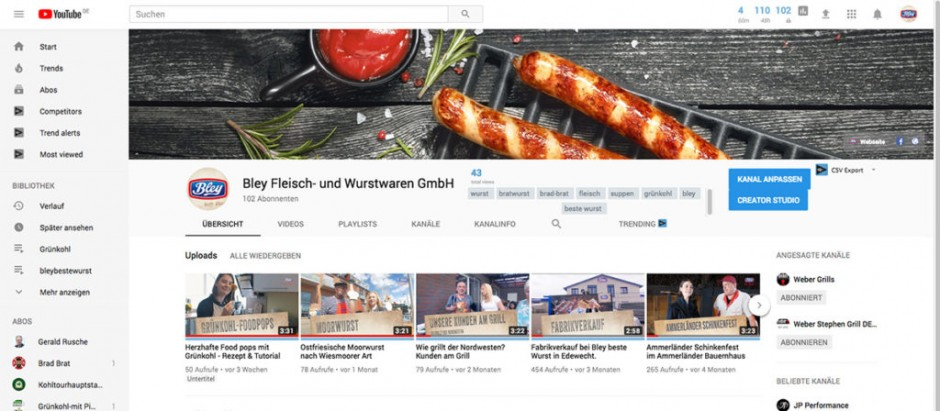 YouTube Kanal, Facebook, Referenz, Bewegtbild